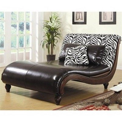 Zebra animal print faux leather chaise lounge chair for Animal print chaise lounge furniture