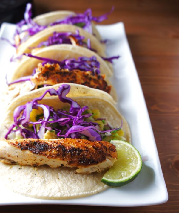 Grilled fish tacos with pineapple salsa. Serve with lettuce wraps to ...