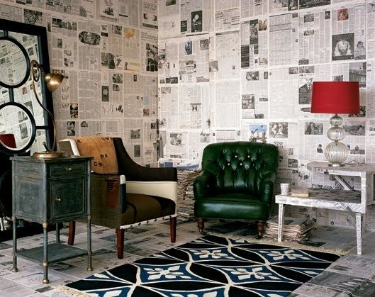 newspaper wall craft diy wallpaper pinterest