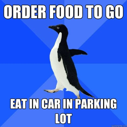 Order food to go eat in car in parking lot admit it we for Order food to go