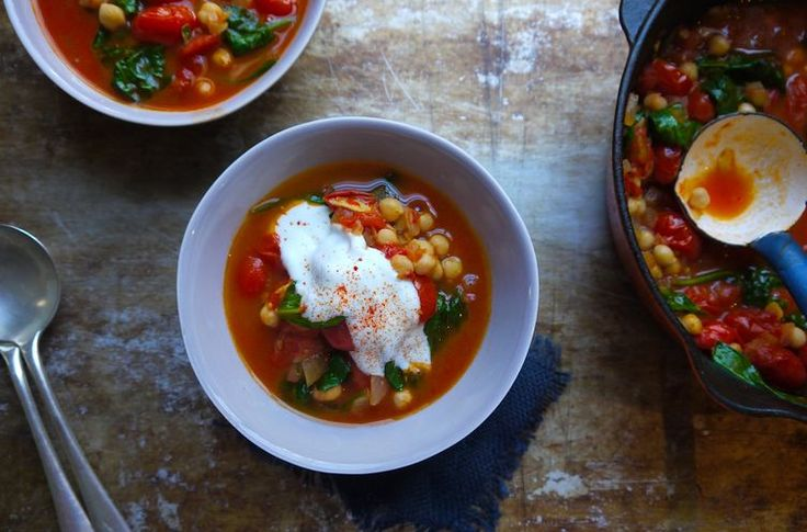 Tomato, Chickpea and Harissa Soup with Spinach | Recipe