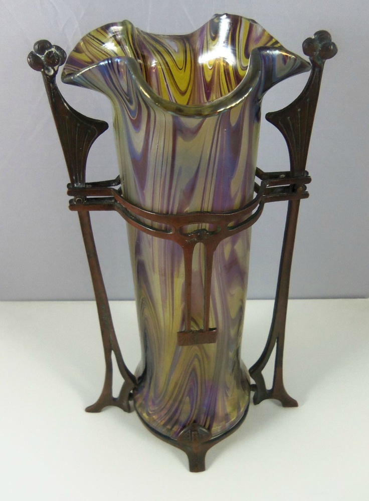 Kralik Art Glass Vase with Metal Mounts.