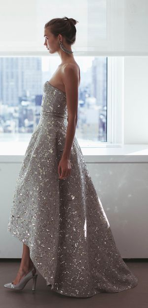 Oscar de la Renta- pale gray strapless w/silver sparkles. Be still my heart