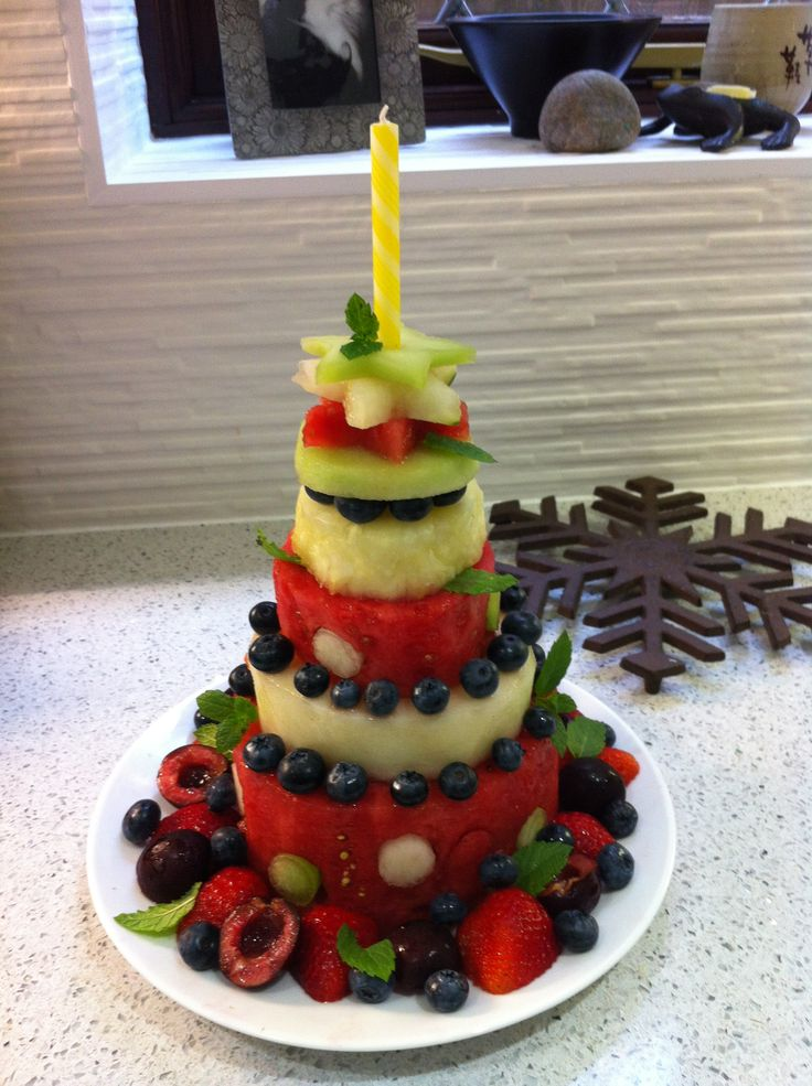 Fresh All Fruit Cake for DD2s first birthday. It wasnt pl...
