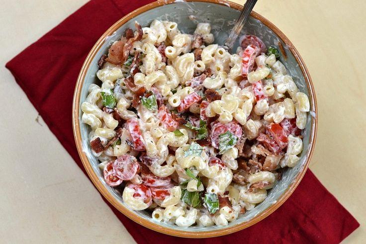 BLT Macaroni Salad- swap the mayo & sour cream for fat-free Chobani ...