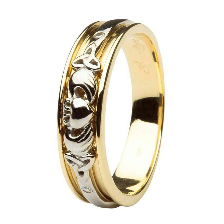 Ladies Gold Diamond Set Celtic And Claddagh Wedding Band