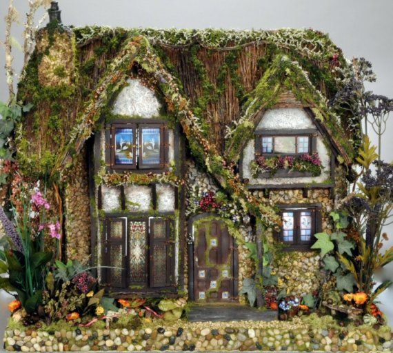 The Cotswold Cottage Fairy Dolls House  -  Custom Order For the Hopelessly Enchanted (front view) by   Melissa Chaple -  West Palm Beach,   $5,000.00