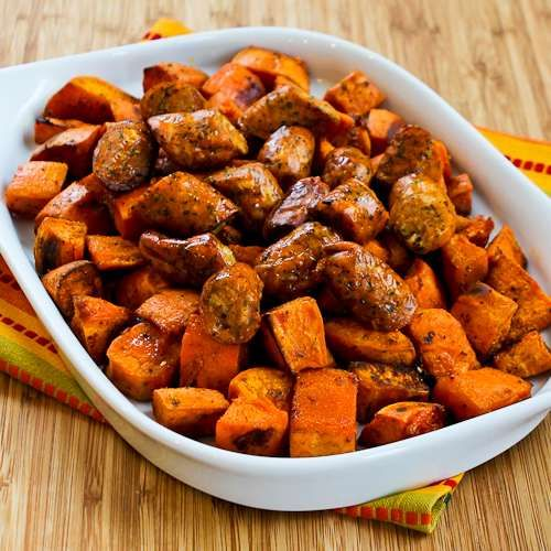 Roasted Spicy Sweet Potatoes and Chicken Sausage from Kalyn's Kitchen ...