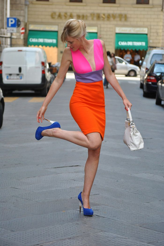 color blocking at its finest! chiara ferragni shoes pull this one together.