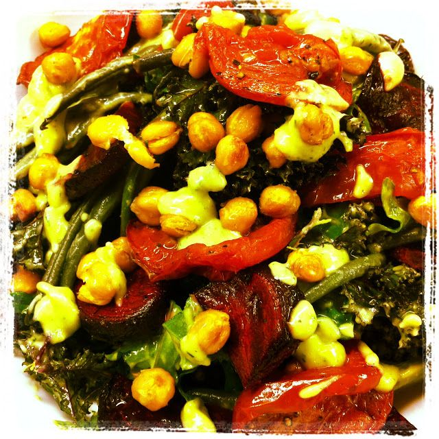 kale salad with roasted beets & tomatoes, crispy garbanzo beans, and ...