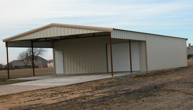 Custom metal building with awning shop mancave pinterest for Metal barn pictures