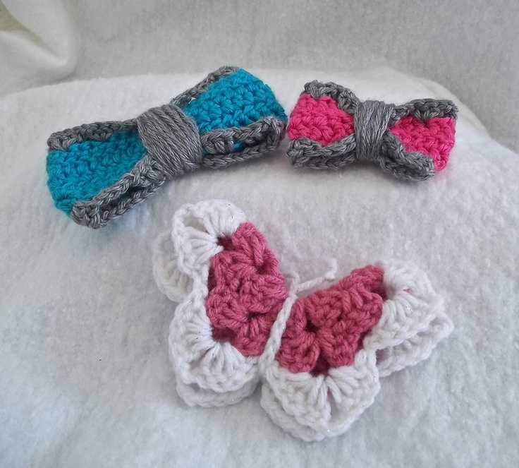 Crochet Hair Bows : Crochet hair bows. Bows and headbands Pinterest