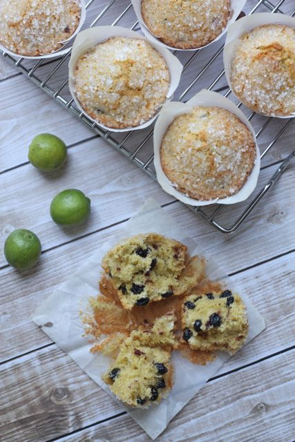 key lime blueberry corn muffins | Sweet Muffins & Scones | Pinterest