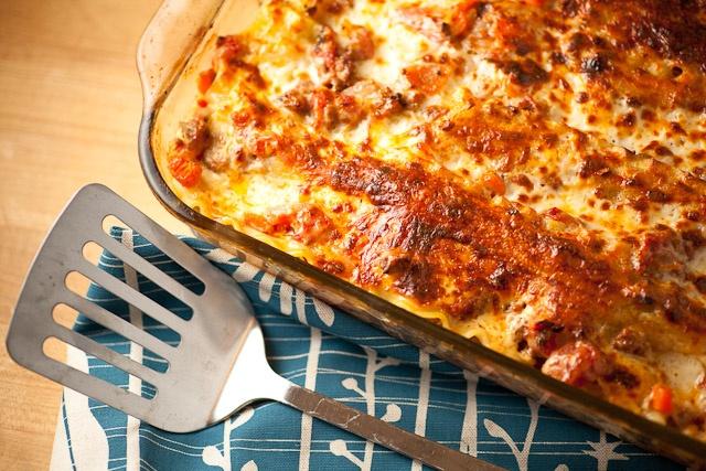 Beef Lasagna, ceasar salad, french bread