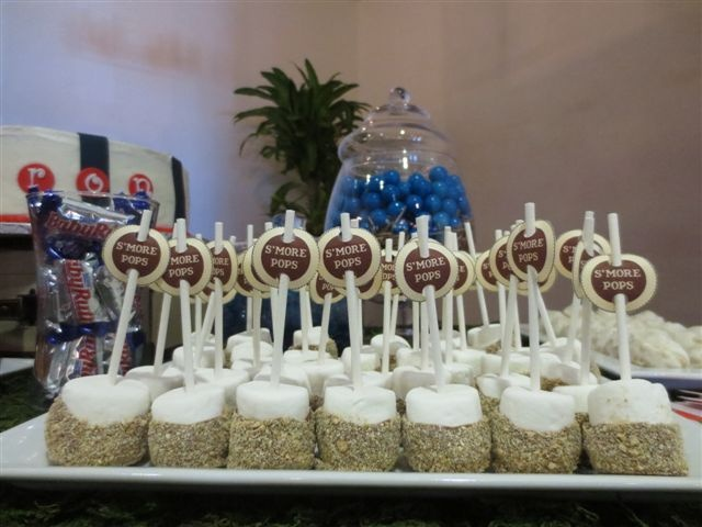 mores pops super easy to make | Sports Theme Party | Pinterest