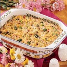 Veggie Ham Casserole 1 ok Rice A Roni wild rice 10 oz frozen broccoli ...