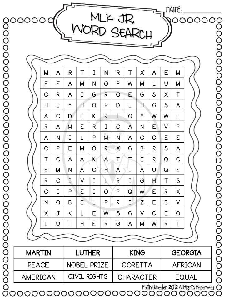 Go Back > Gallery For > Martin Luther King Word Search