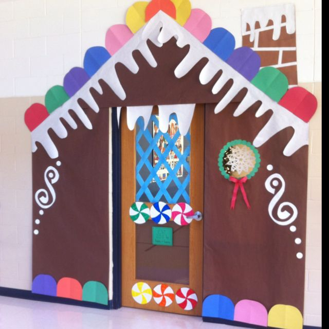 Door decorating christmas door and classroom ideas on for Gingerbread decorations