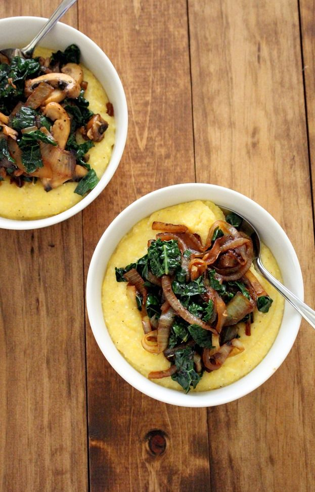 creamy polenta with caramelized onions mushrooms and kale