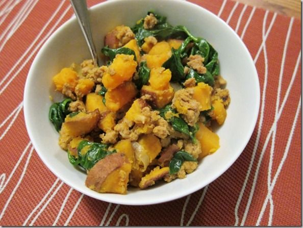 Skillet Sweet Potato, Ground Turkey, and Spinach Hash. Read more at ...
