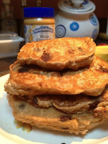 Vegan Chocolate Chip Oatmeal Pancakes :
