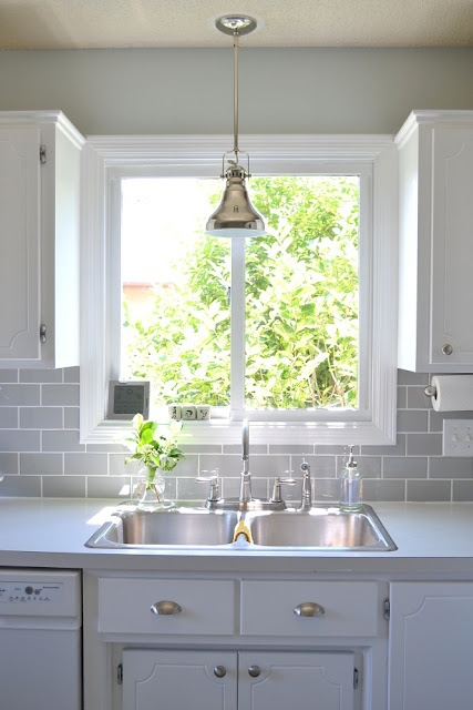 white cabinets, grey subway tile  Home Sweet Home  Pinterest