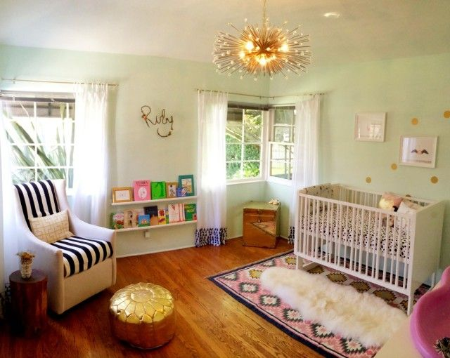 Whimsical Parisian Themed Girl's Mint Nursery - We are crushing so HARD on this rug from @Lulu & Georgia! #nursery #rug