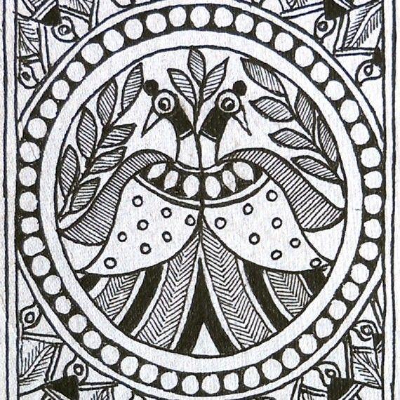 Black And White Madhubani Painting Peacocks M A D H U