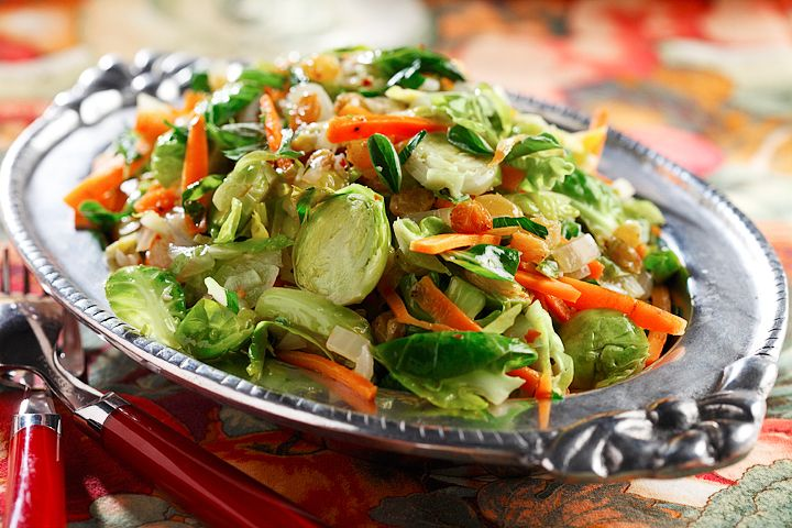 Sauteed Brussels Sprout Slaw with Carrots and Golden Raisins   www ...