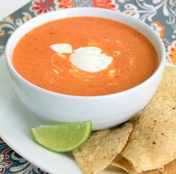 Red pepper soup with lime cilantro sour cream. Paleo/primal