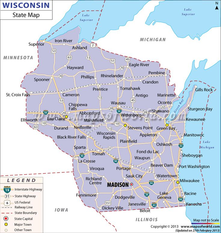 Map Of Wisconsin  ROAD MAPS OF THE UNITED STATES  Pinterest