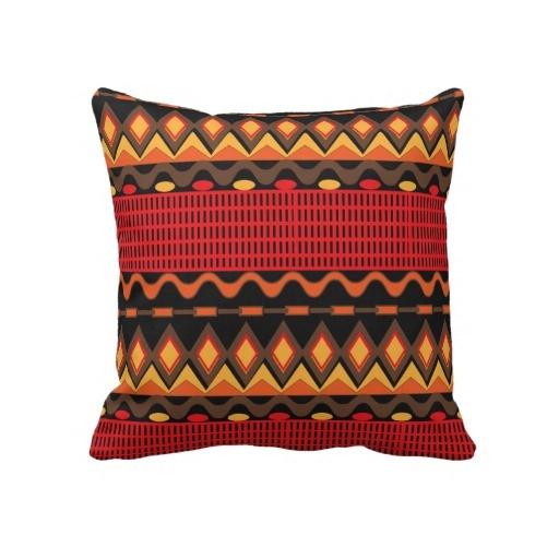 Orange Brown Tribal Patterned Throw Pillows