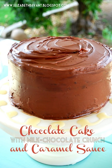 Chocolate Cake with Milk Chocolate Crunch and caramel sauce....can you ...
