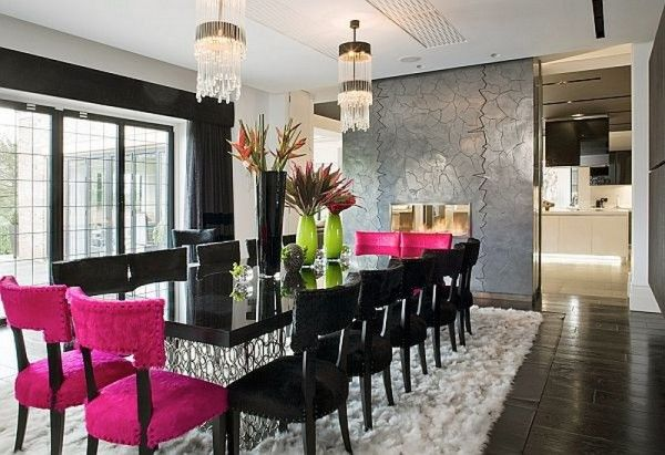 Pink black and white let 39 s dine dining rooms pinterest for Pink dining room ideas