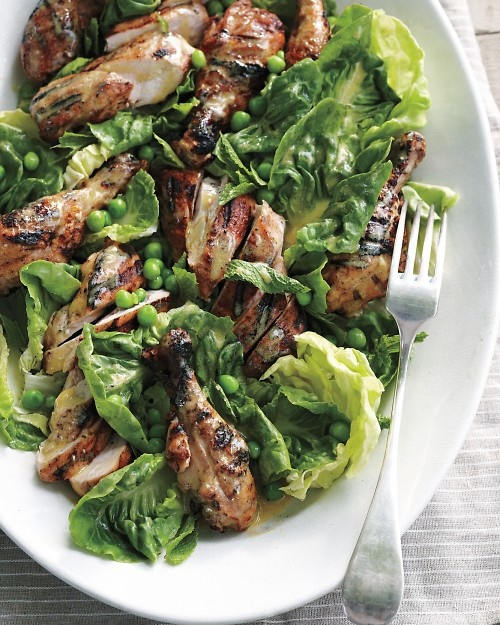 Grilled Chicken Salad with fresh peas and mint