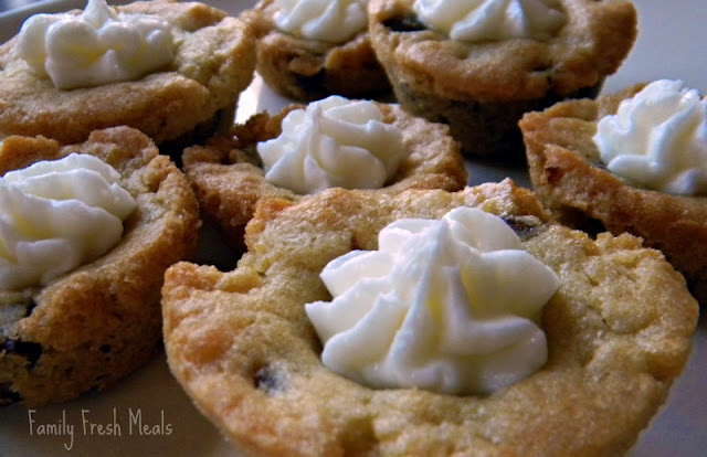 Chocolate Chip Cookie Cups with Almond Buttercream Frosting | Recipe
