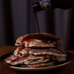 MANCAKES: brown sugar bacon pancakes with beer syrup