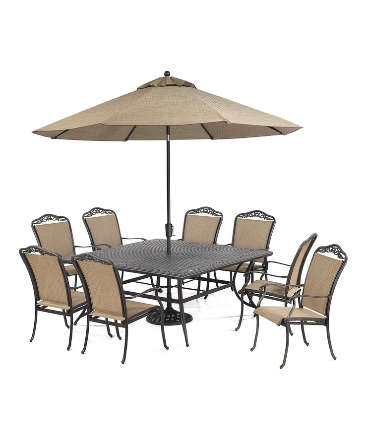 Beachmont Outdoor 9 Piece Set 64 Square Dining Table And