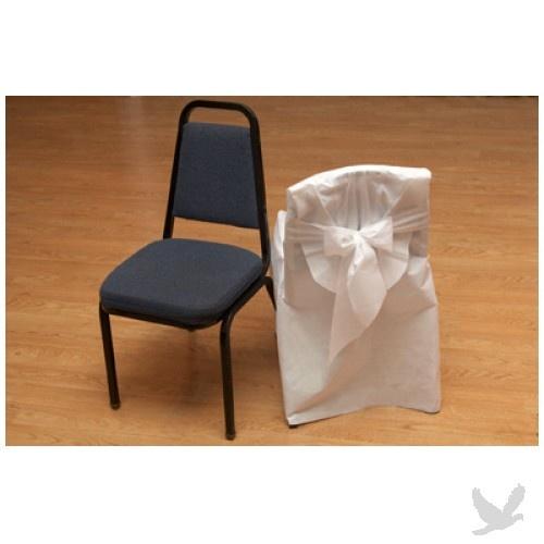 Disposable Chair Covers w Bow Banquet Chairs 96 Pcs Bulk White