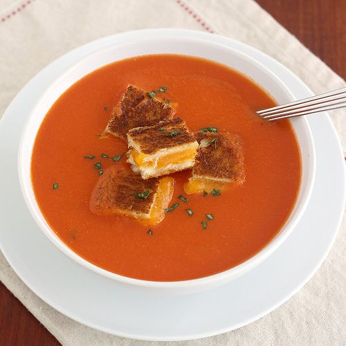 tomato soup with grilled cheese croutons | Food | Pinterest