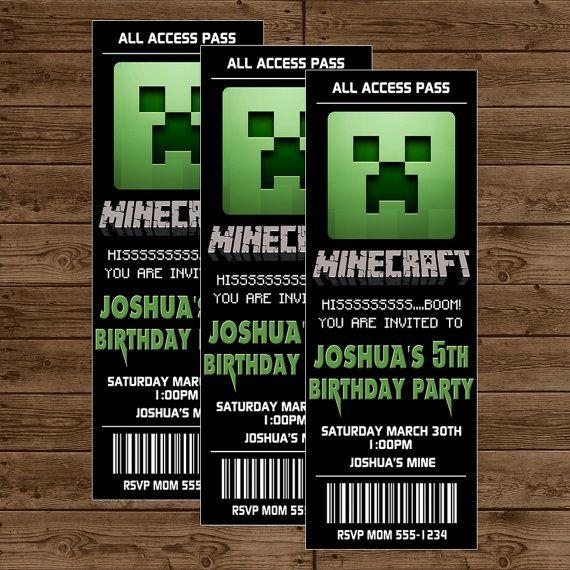 Minecraft Birthday Party Invites as luxury invitations example