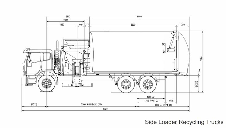 Line Drawing Truck : Line drawing of side loader garbage truck