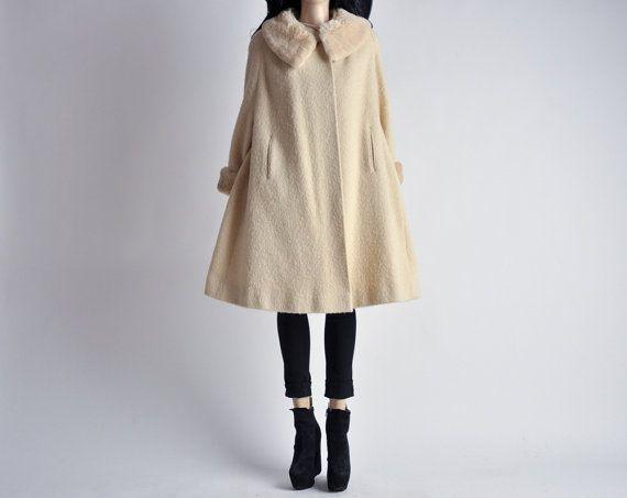 brushed wool midi swing coat sheared mouton fur collar m