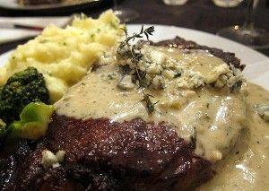 Steak With Drunken Mushrooms & Roasted Blue Cheese Potatoes Recipes ...