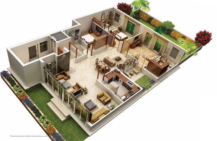 Villa1 3d house plans floor plans pinterest