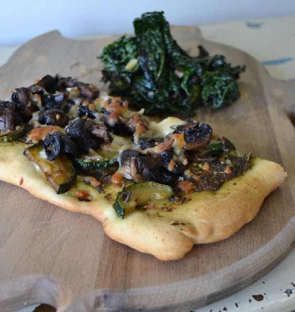 Kale, Mushroom, Zucchini + Pesto Pizza (I added pine nuts and fresh ...