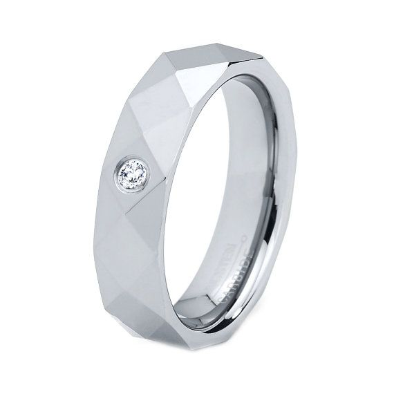 Tungsten Wedding Band Ring, Men Women, Diamond Band, Wedding Bands, M