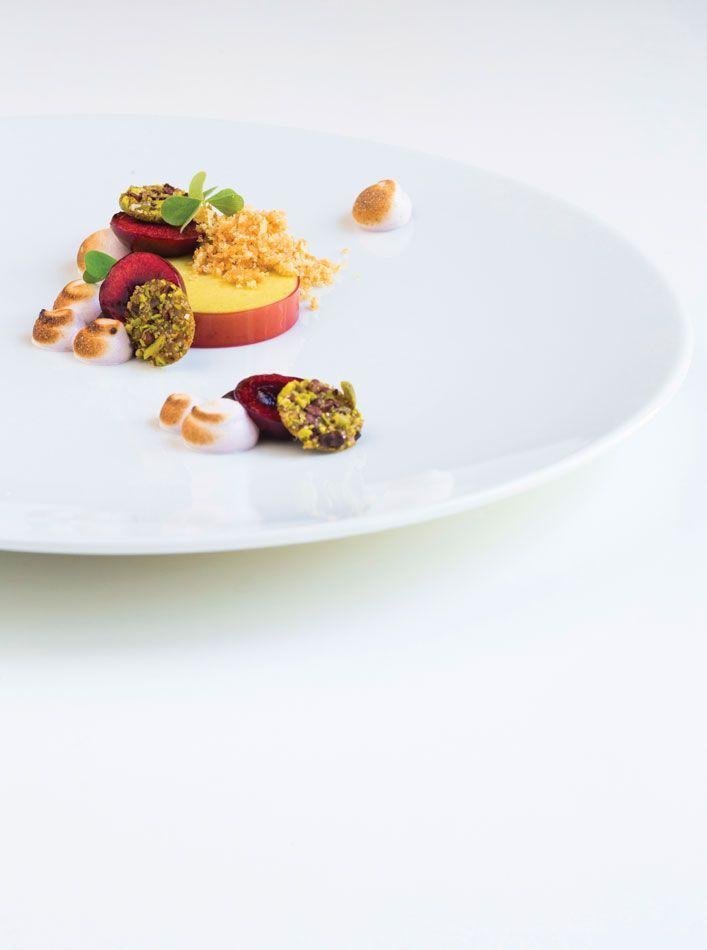 Pistachio Parfait with Cherry Pit Crumble, Red Wine Meringue & Cocoa ...