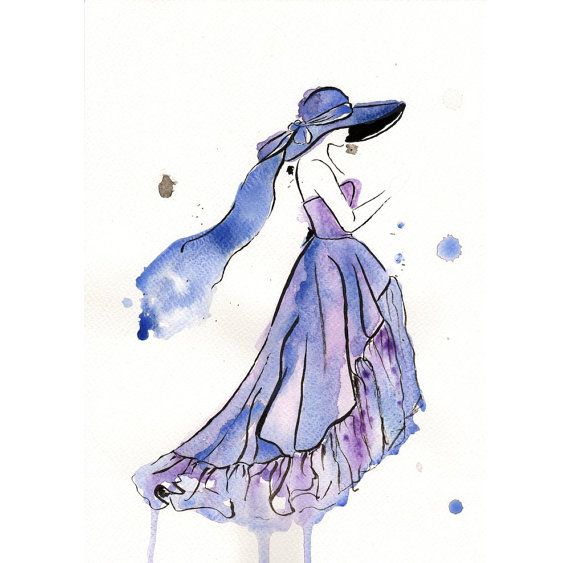 Original Watercolor Fashion Illustration Blue Dress