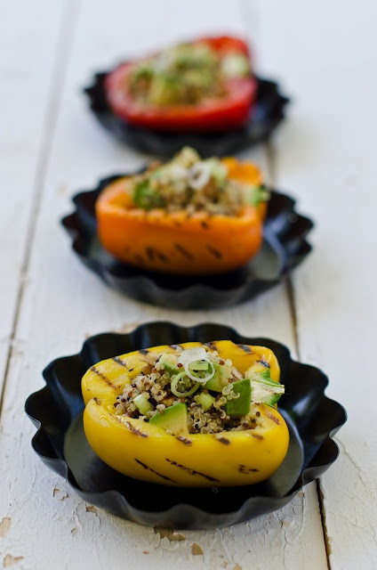 quinoa with avocado and pecan salad in grilled pepper cups